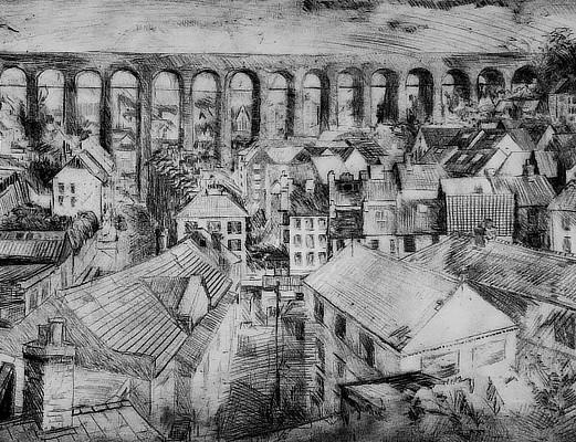 etching of Folkestones brick viaduct