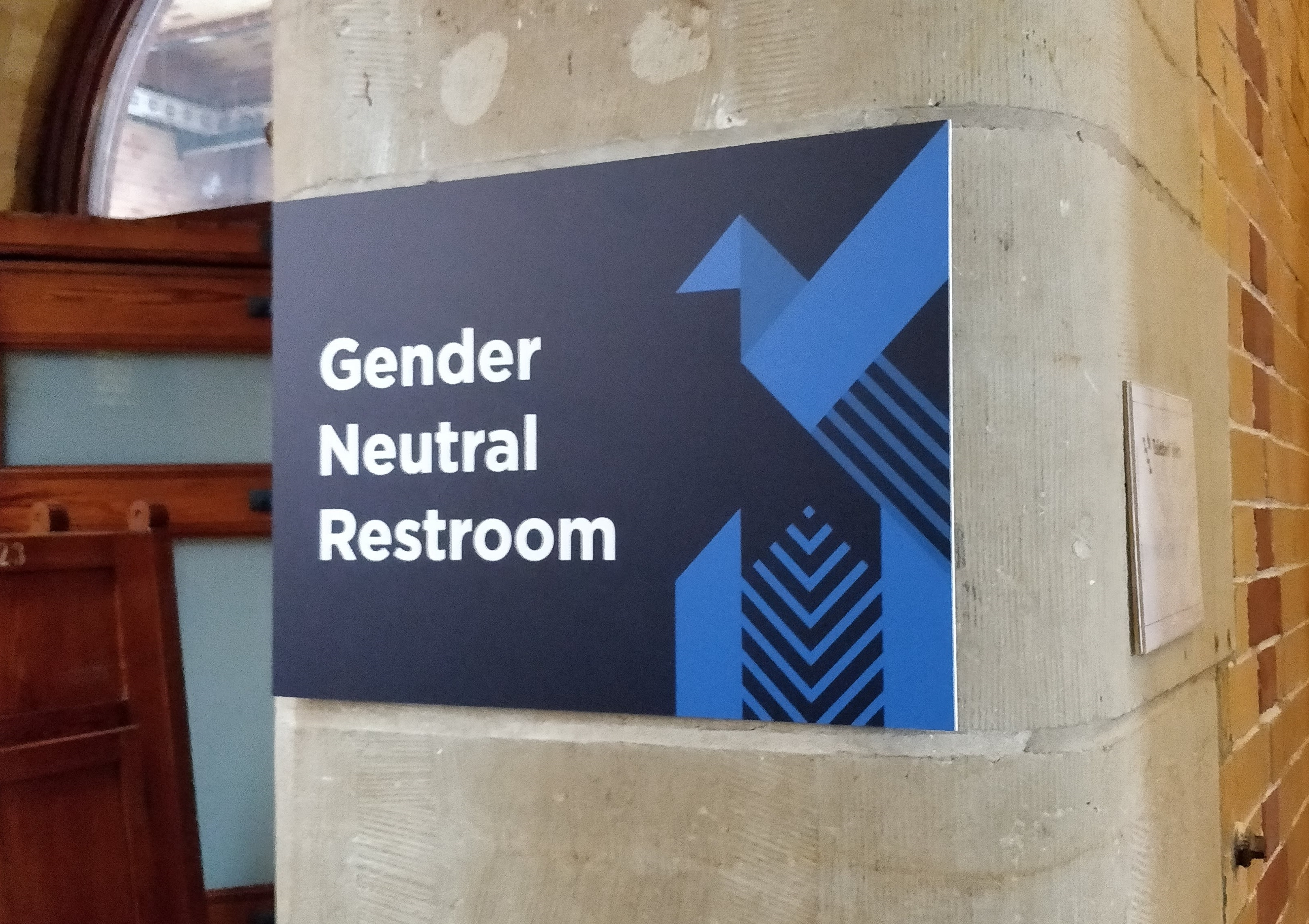 """Gender Neutral Restrooms"" sign"