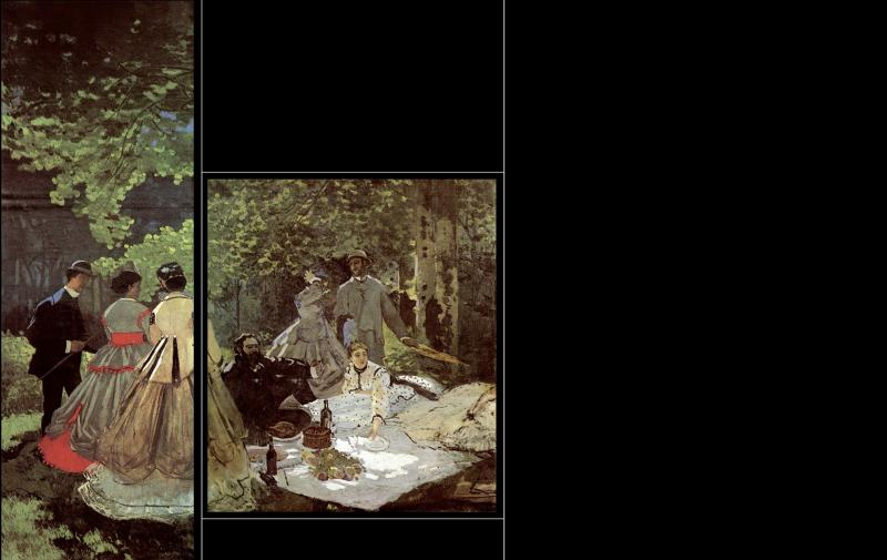 Приблизительный вид картины «Завтрак на траве»: левый и средний уцелевшие фрагменты в сравнении с утраченными частями полотна