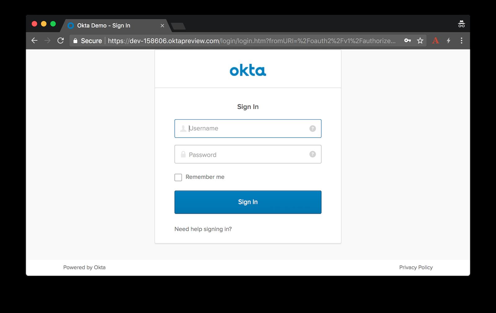 Okta Sign-In Form