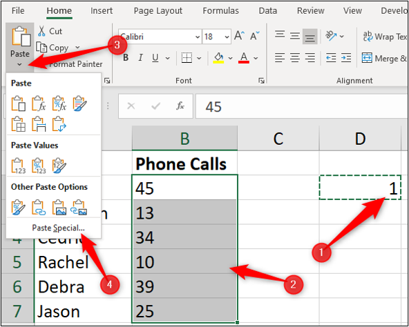 """An Excel spreadsheet containing two columns of data, one for """"name"""" and one for """"number of phone calls."""" There is a red arrow pointing to a cell which has been selected. A second red arrow annotates a range of cells that have been highlighted in the """"phone calls"""" column. A third arrow is pointing to the """"paste"""" option in the Excel toolbar. A fourth arrow is pointing to the """"paste special"""" option available in the drop-down menu."""