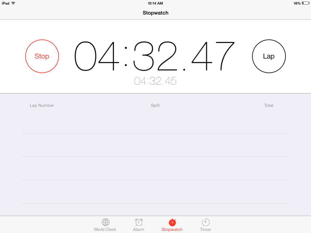 View of iOS's clock app