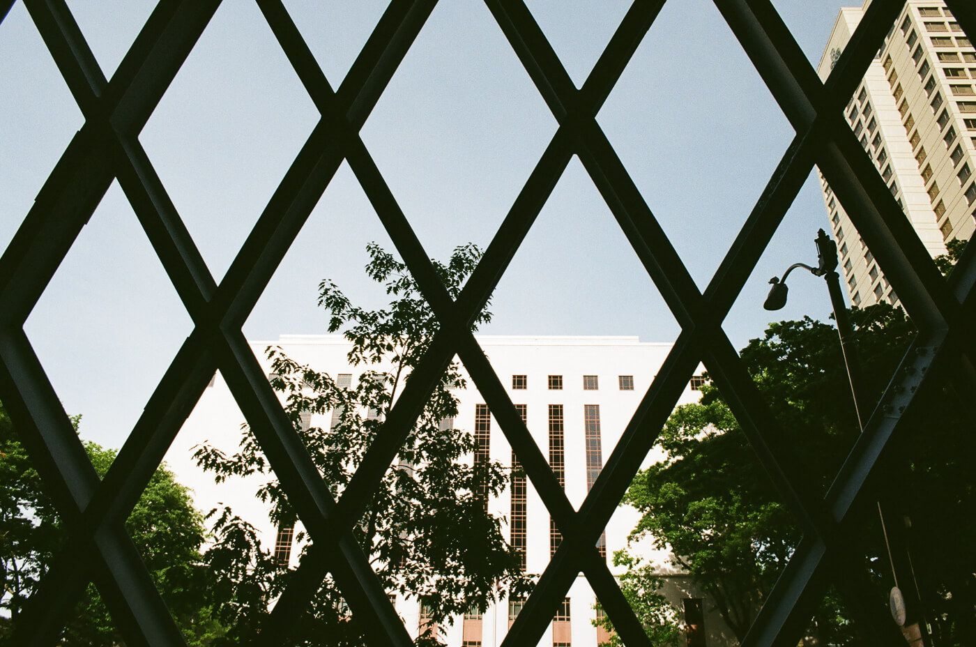 Looking out the diamond shaped window panes at a building across the street