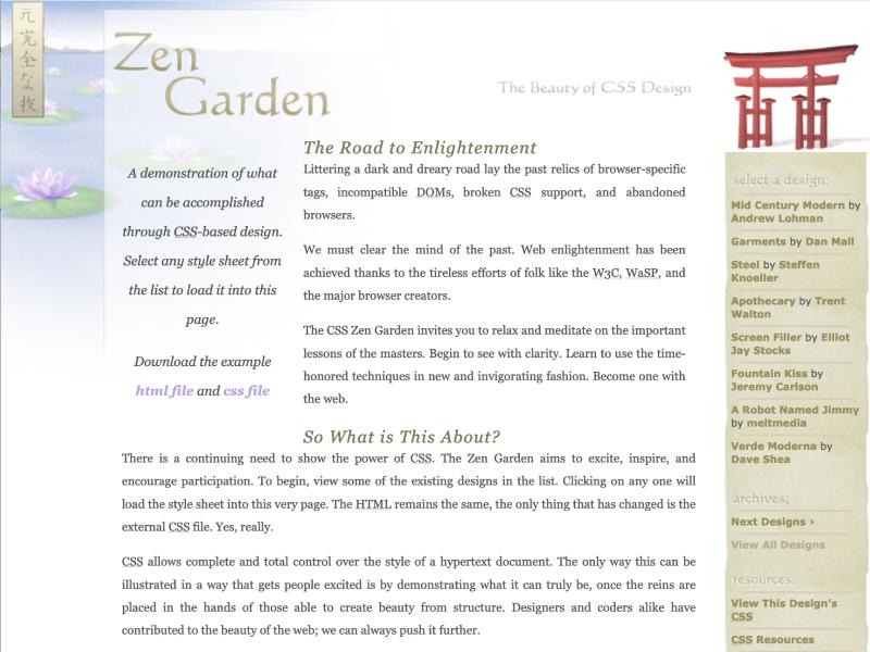 Screenshot of CSS Zen Garden's first theme.