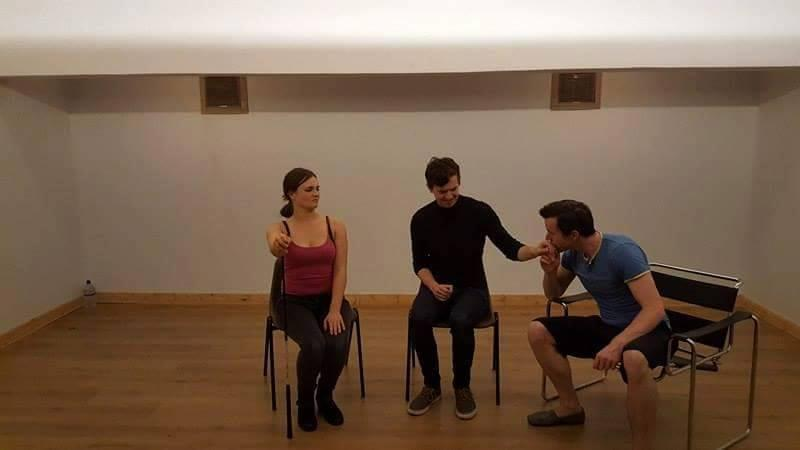 Jasmine Atkins-Smart, Joshua Phillips and Ellis J. Wells, rehearsing for The Accidental Adventures of Sherlock Holmes