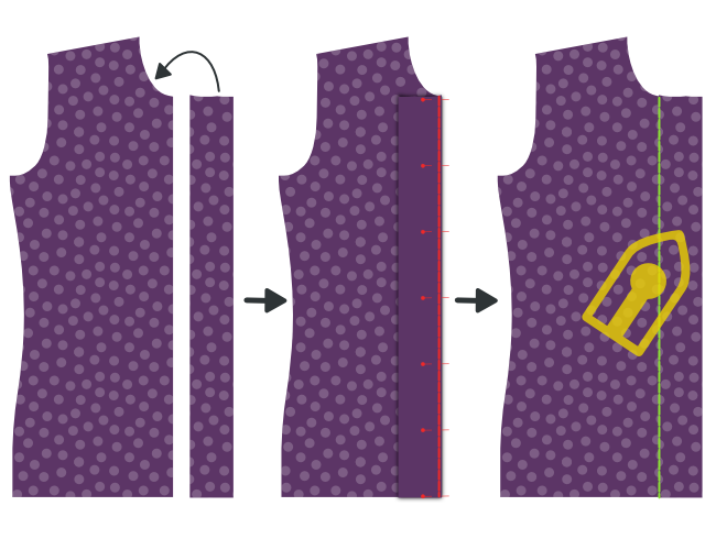 Sew on the button placket