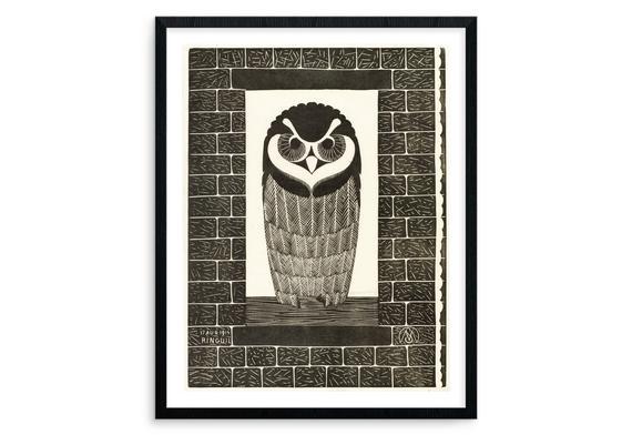 Snowy owl woodcut print