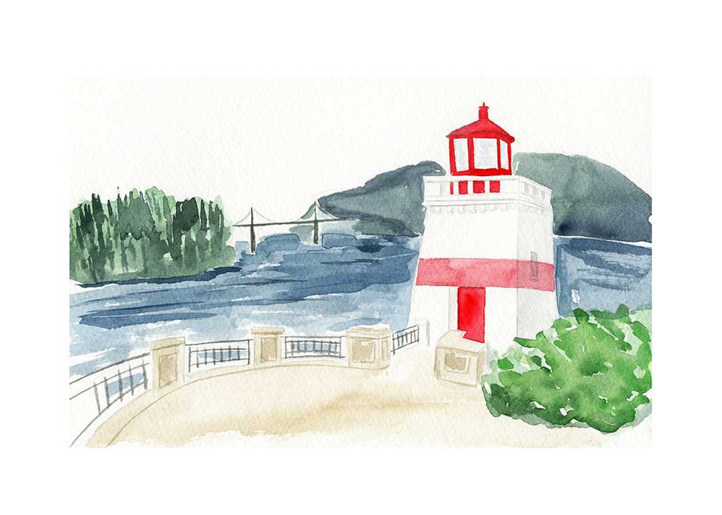 Stanley Park lighthouse illustration by One and Only Paper