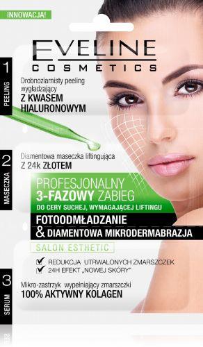 EVELINE 3 lépéses arckezelés, arcradír+maszk+szérum bőrfiatalító hatású gyémántos mikrodermabrázió 3x3 ml