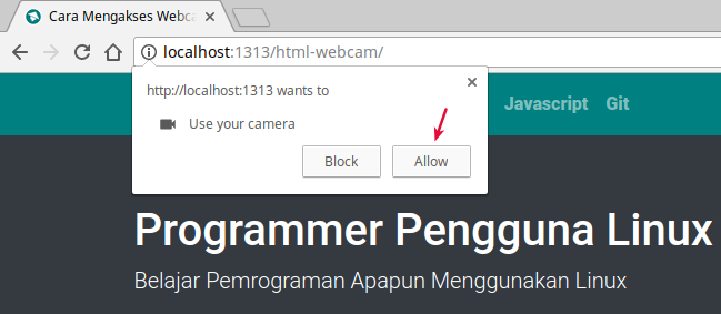 Permit Webcam access in Google Chrome