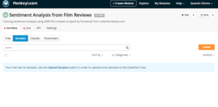 Creating my text classifier on MonkeyLearn.