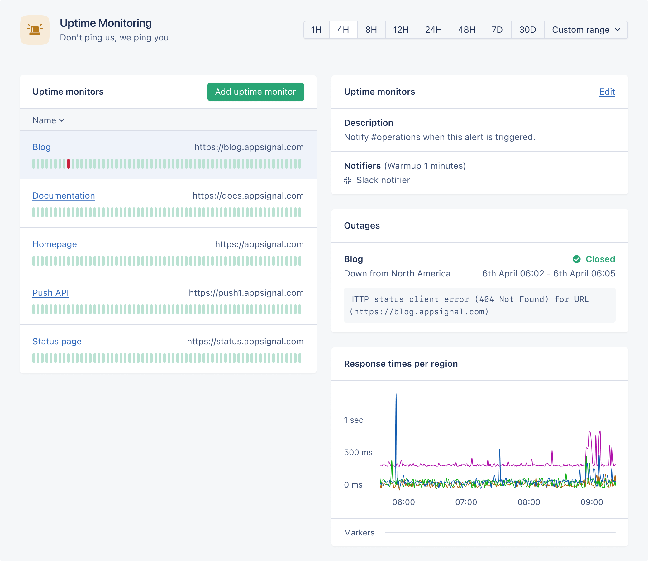 Screenshot of uptime monitoring page