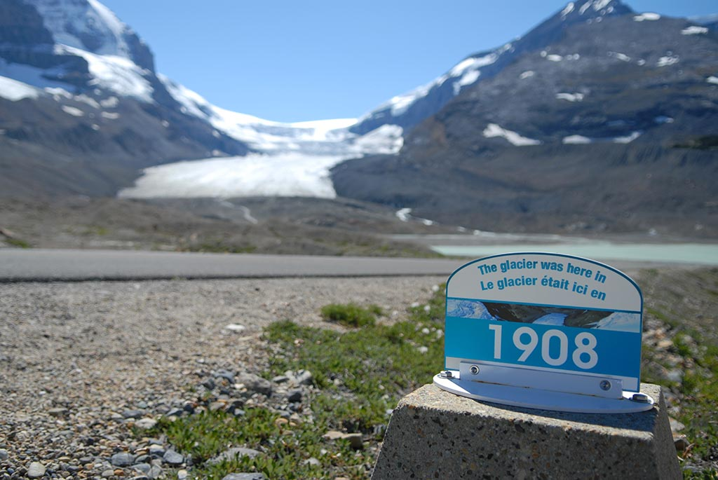 Location and date marker for glacier in Jasper National Park in Canada. Clear evidence of global warming.