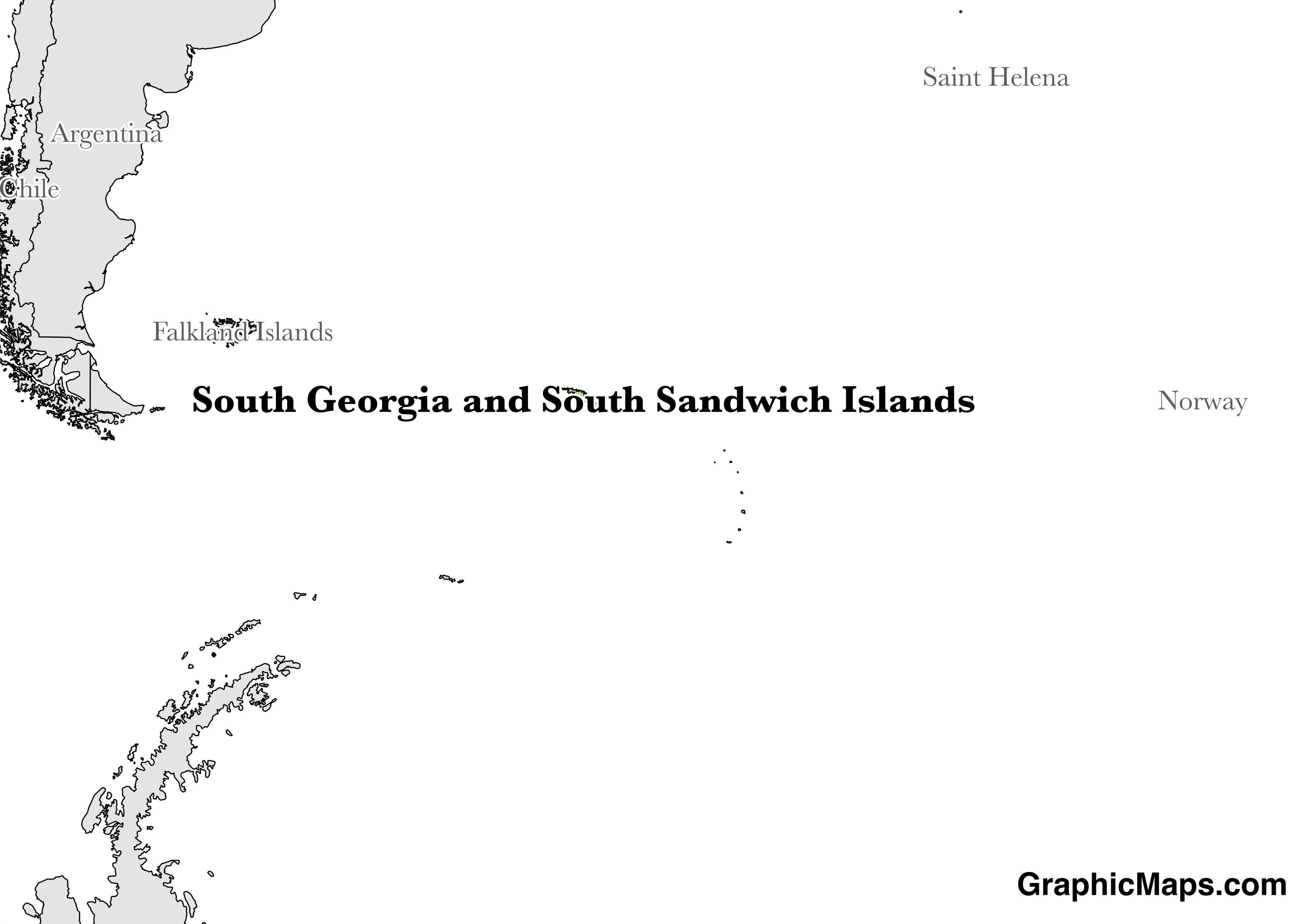Map showing the location of South Georgia and the South Sandwich Islands