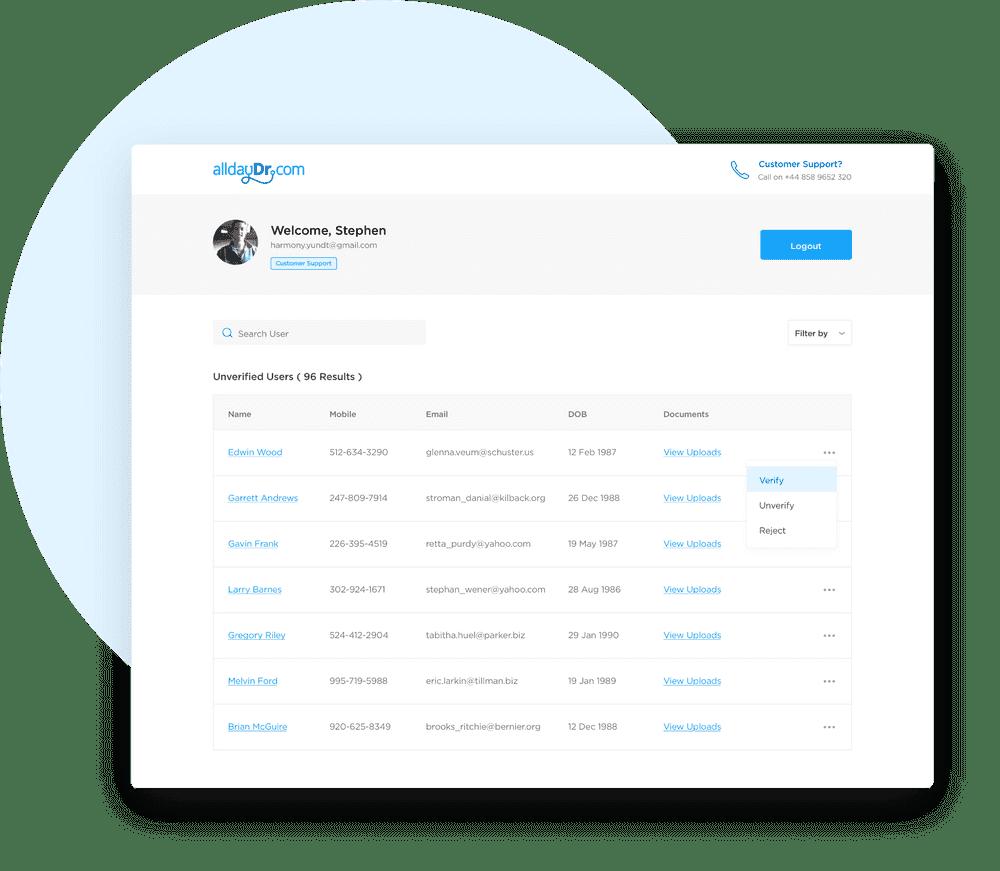 alldayDr Customer Support Portal