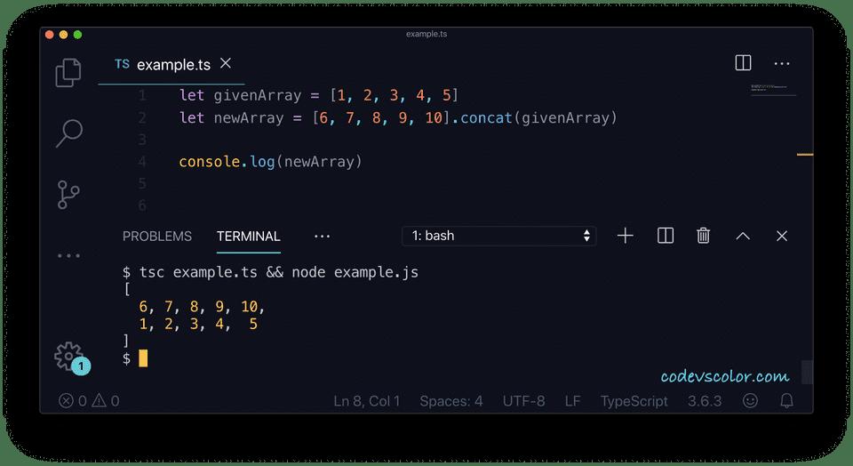 TypeScript array add elements concat