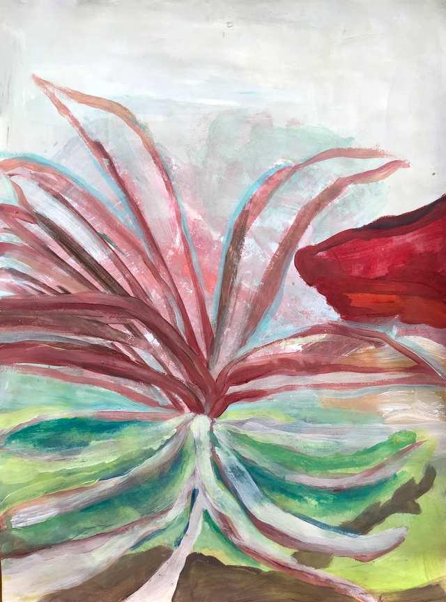 Oceania Feeling Above Midden Layers, acrylic on canvas