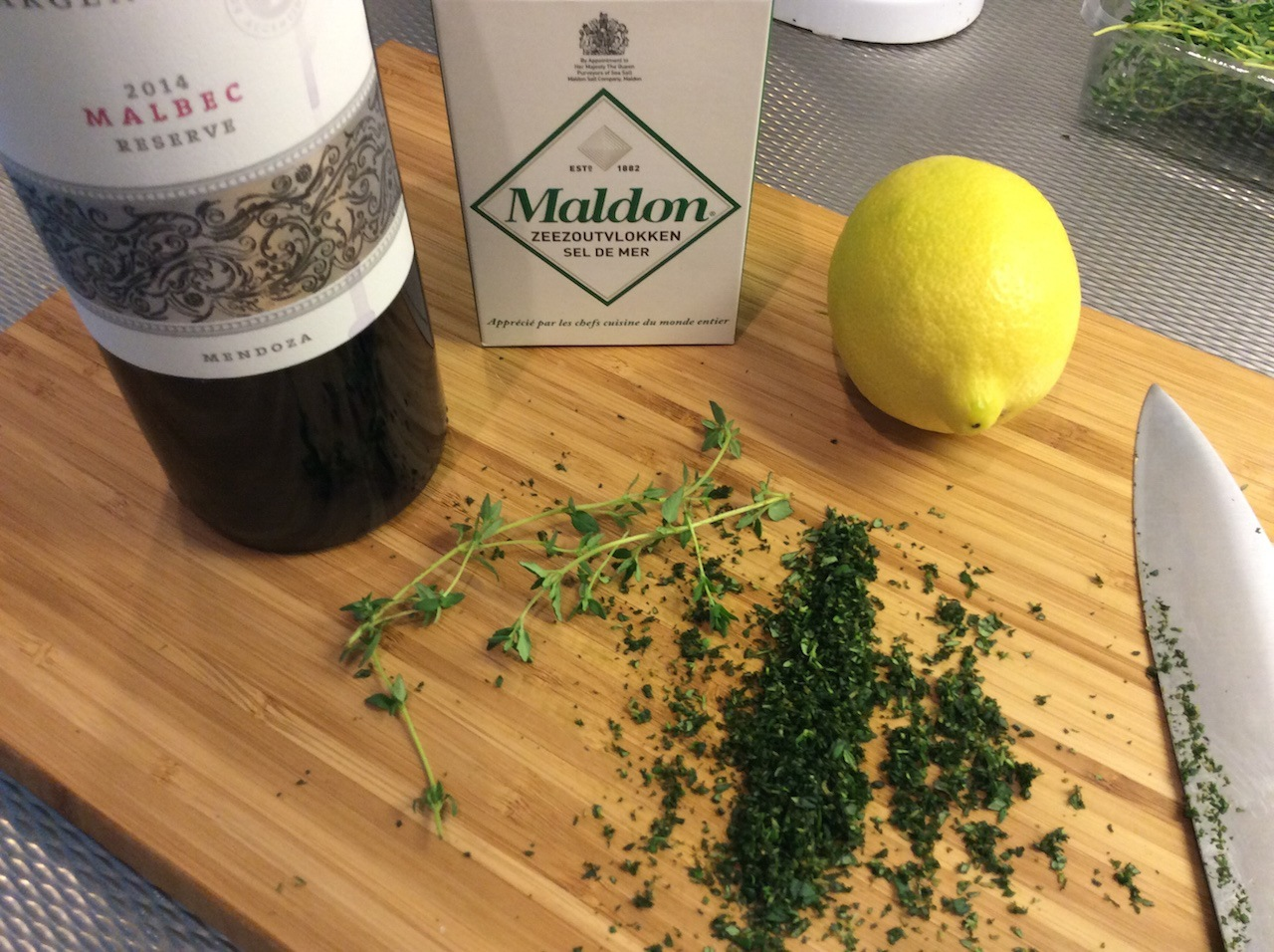 The basic ingredients are wine and salt. You can add herbs and zests if you want to add some extra flavor.