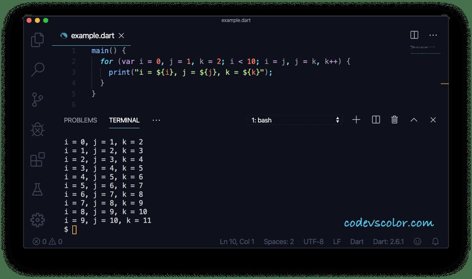 Dart for loop multiple variables