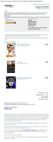 Example of an Amazon confirmation email containing the list of books ordered