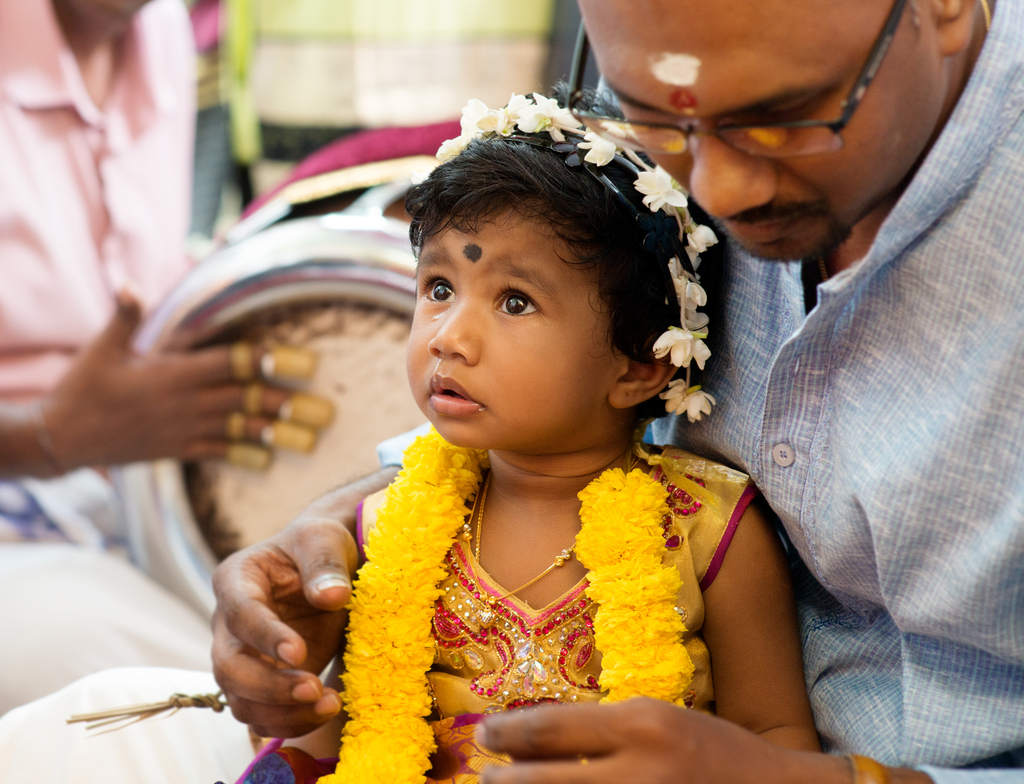 Ceremony at Hindu temple for a child