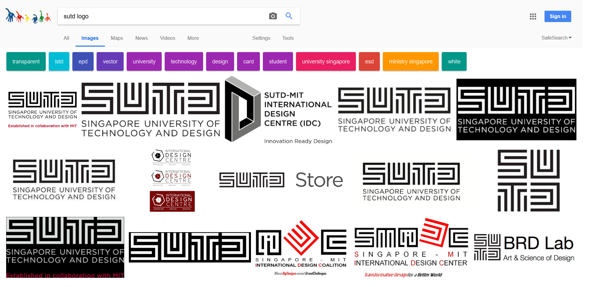 Google Image Search for the SUTD logo
