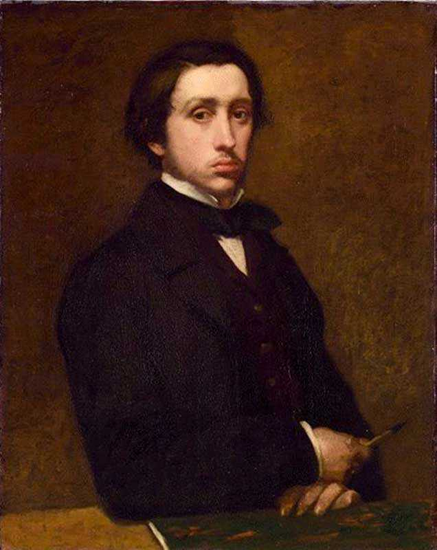 A Degas self-portrait at the age of 21. Somehow Degas manages to make himself look surly, an accurate depiction of his character!