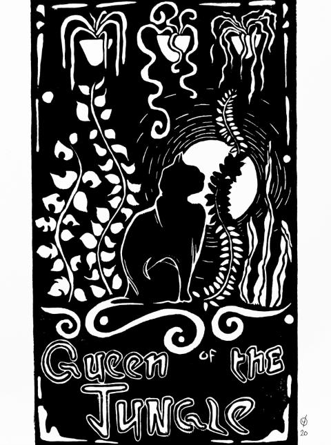JUNGLE QUEEN, linocut print on paper, 2020.