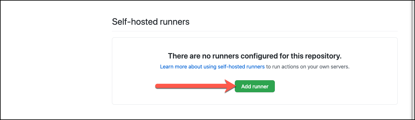 GitHub repo settings actions add runner
