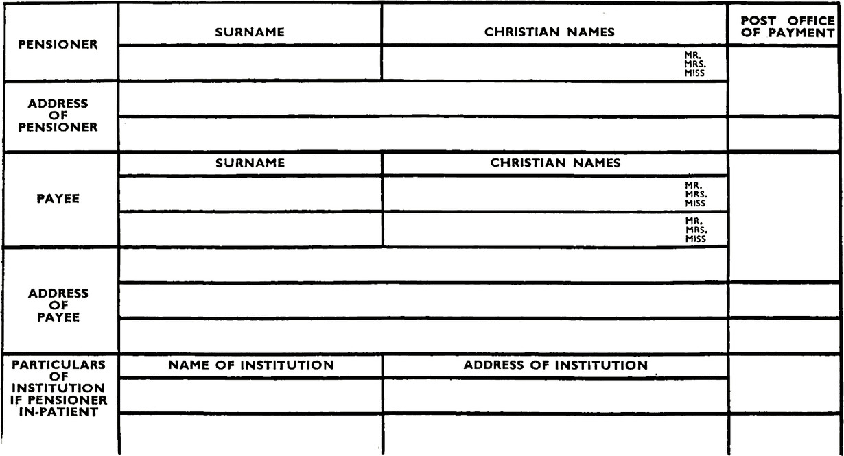 Form for pensioners includes Surname, Christian name, Payee, Address etc. No spaces between black lines so is not clear what section belongs to what.