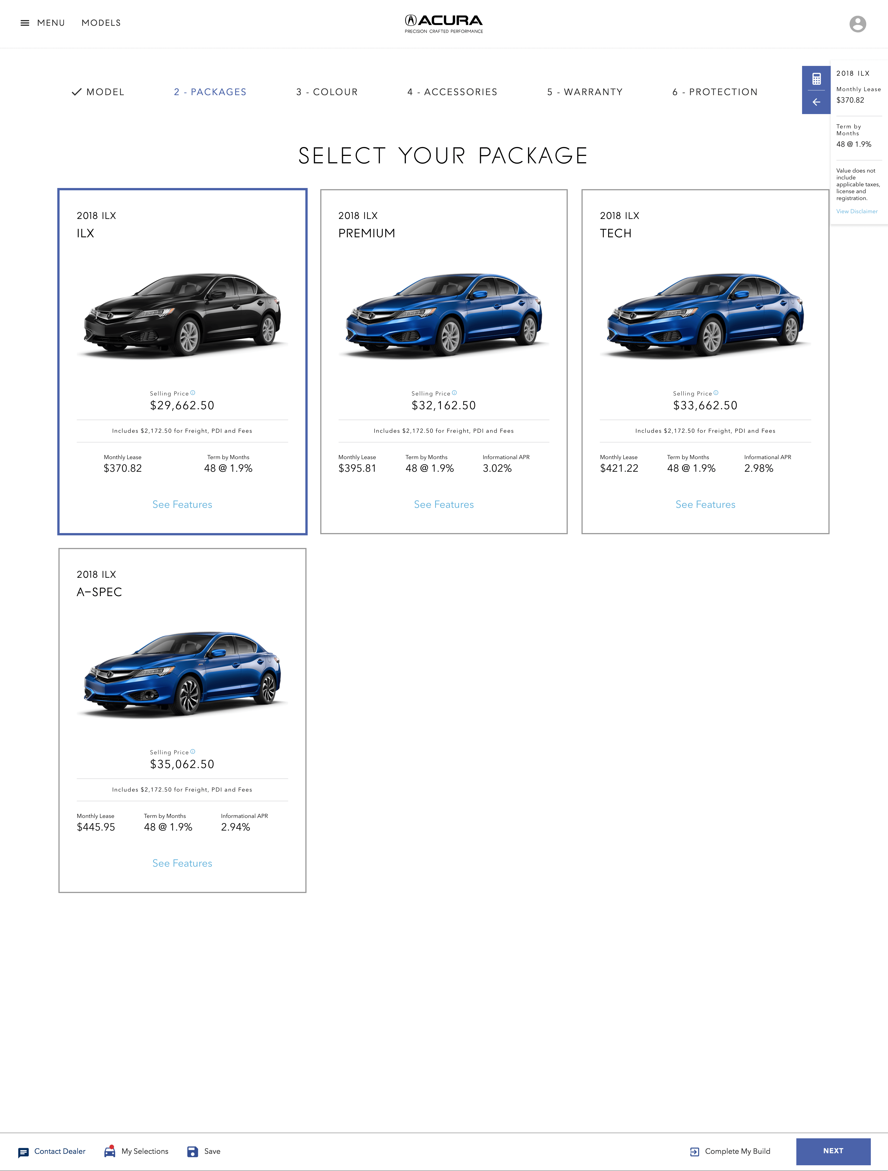 Screen capture of the Acura Build and Price app