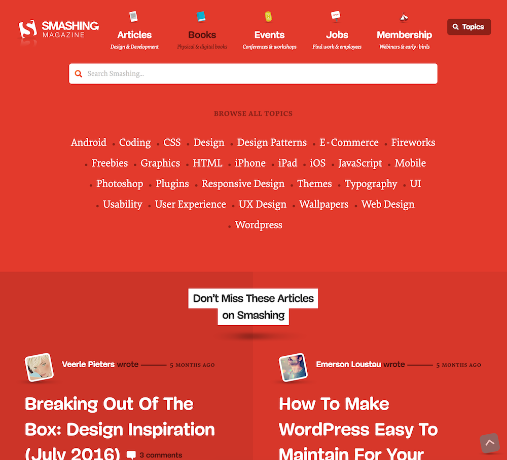 Screenshot of the Smashing Magazine Navigation on desktop