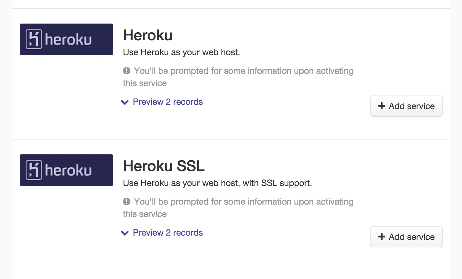 Heroku services