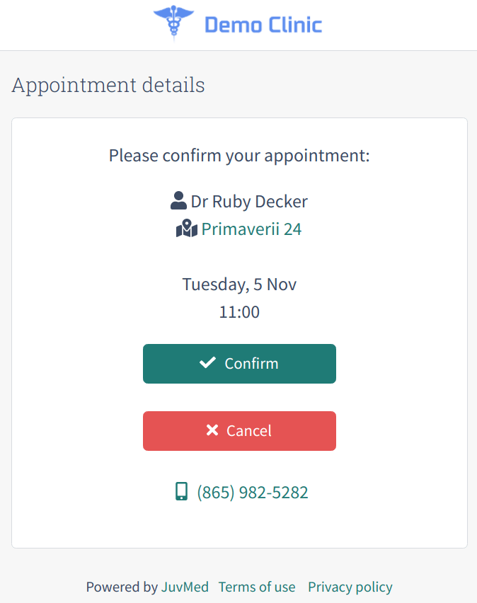 Patient Portal confirmation