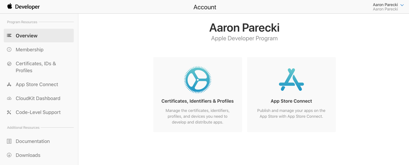 Apple developer account dashboard