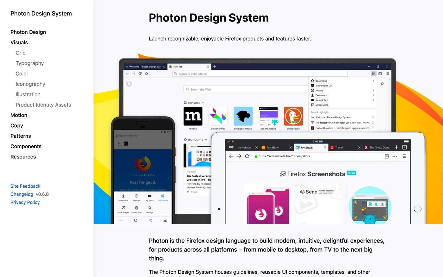 Screenshot of the Firefox Design System homepage