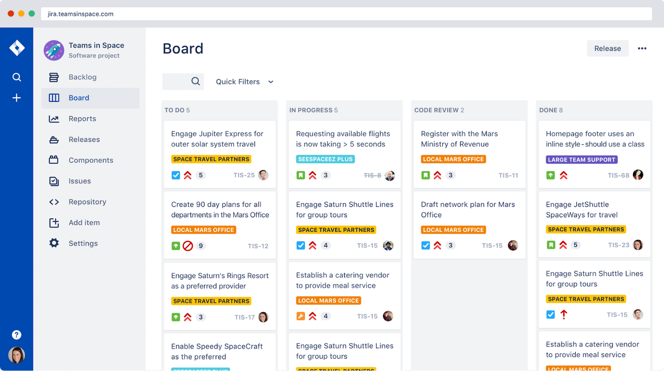 jira board view example for project management software