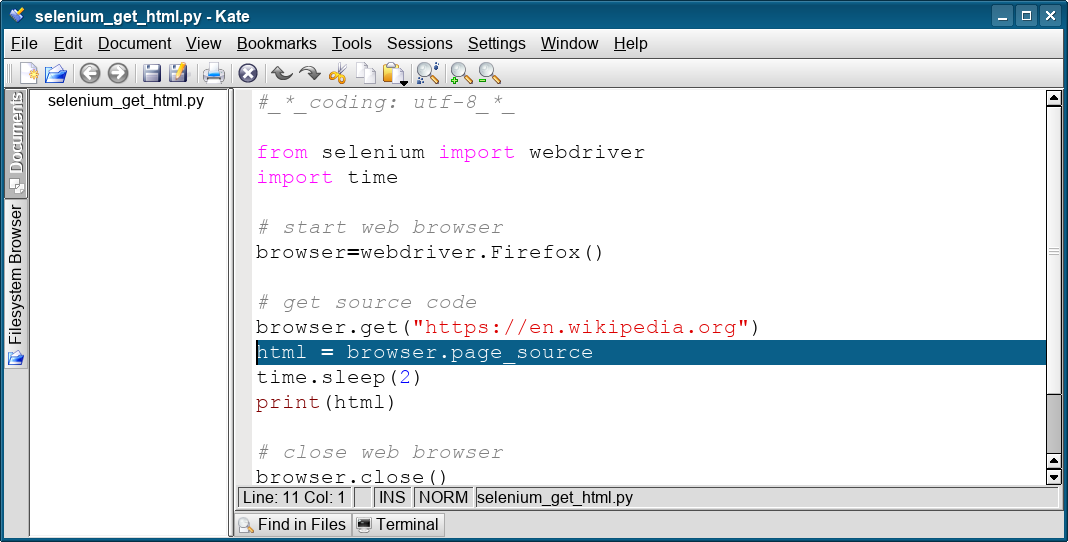 selenium get html
