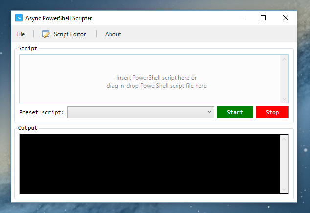 Application UI once finished loading preset scripts