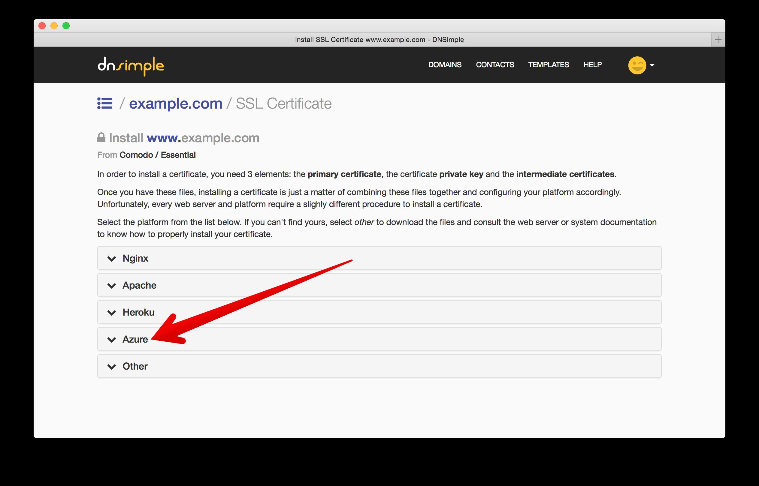 SSL Installation wizard including Azure