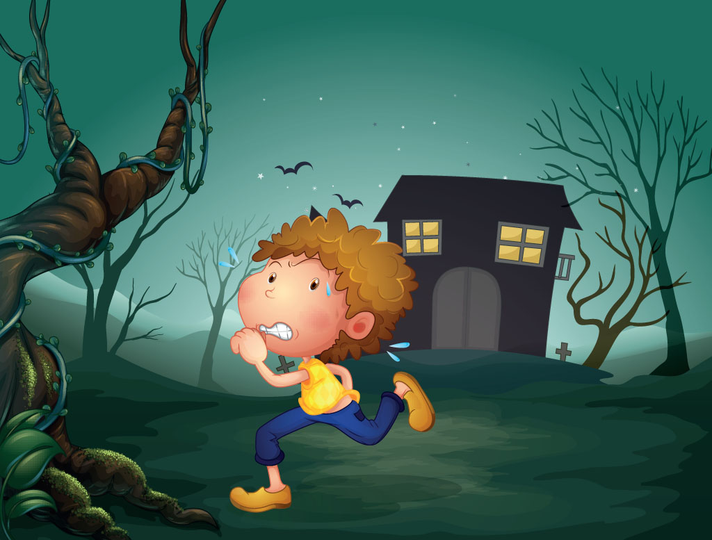 A boy running scared at night: Long bony fingers - A story for kids