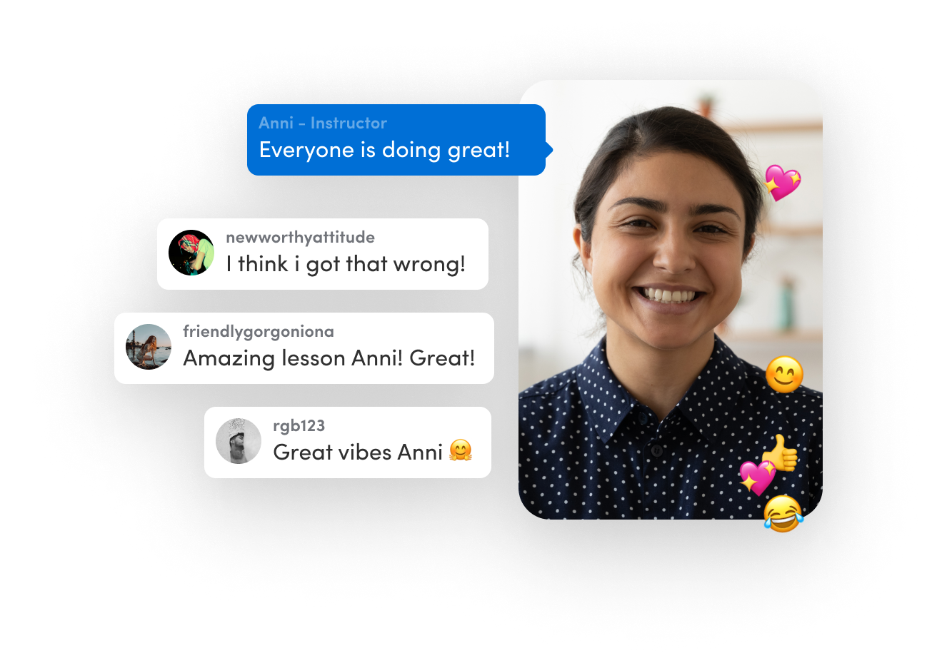Real-time chat & reactions