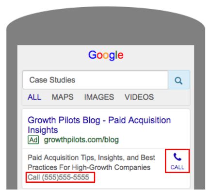 Smartphone screen showing Google search results for Case Studies highlighting the call feature.