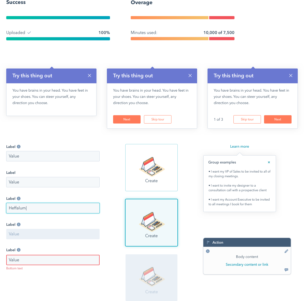 An assortment of UI components that I had a hand in updating or refactoring. These include progress bars, text inputs, buttons, popovers, and cards.