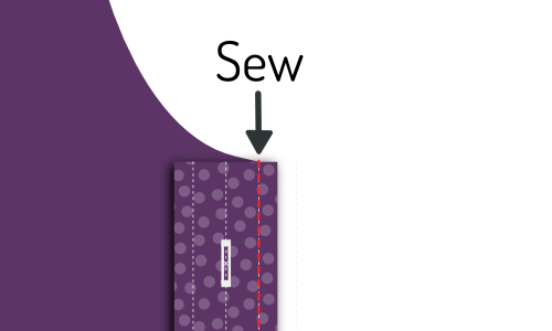 Sew on the first sew line