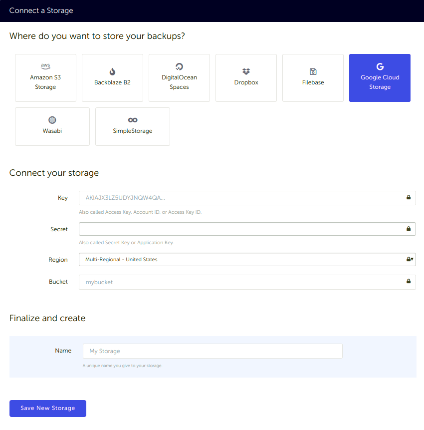 Connect Google Cloud Storage bucket to SimpleBackups