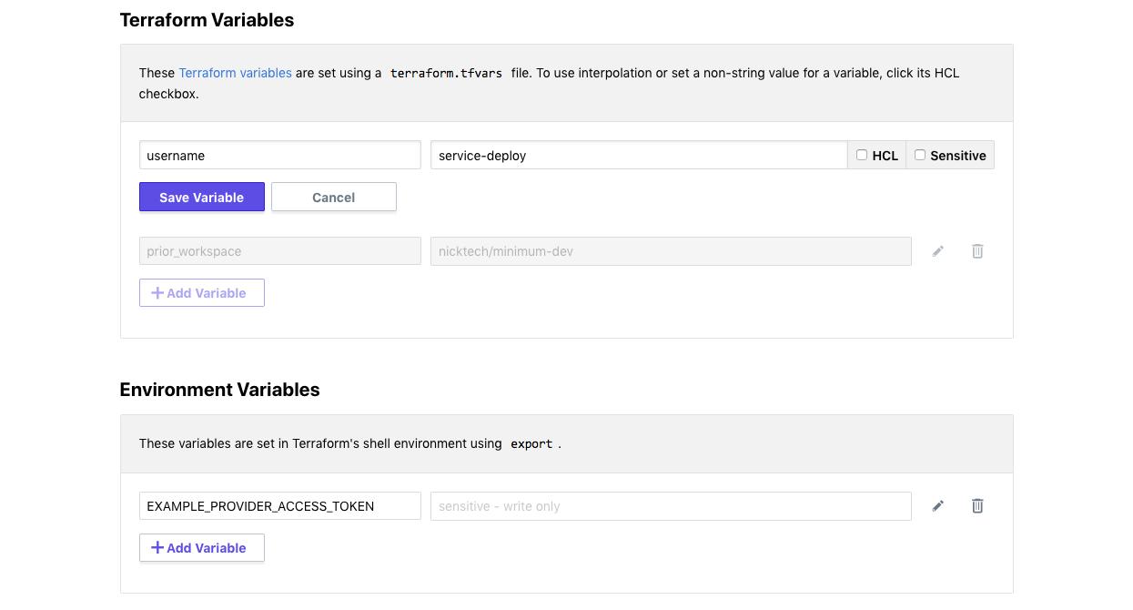 Screenshot: editing a variable