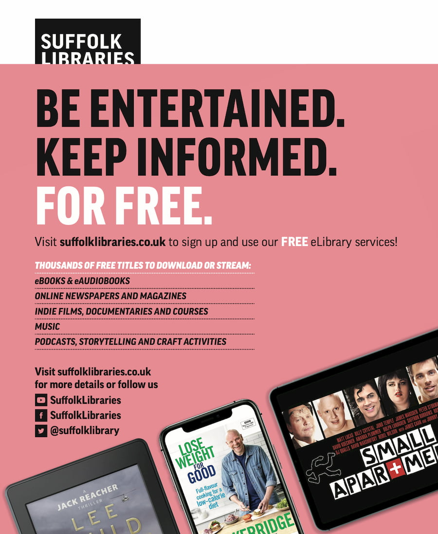A Suffolk Libraries advert for its elibrary services.