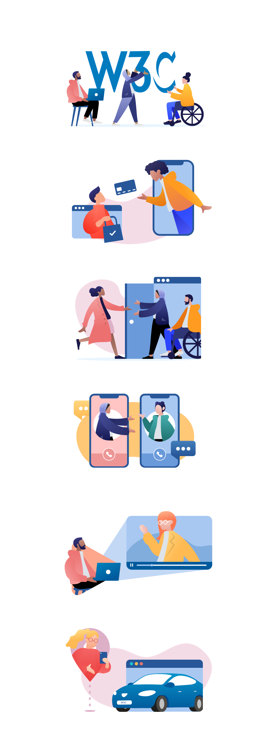 A set of illustrations showing people with different physical needs, ethnicities, genders and skin tones, engaged in online activities. The activities depict a range of technologies that W3C set the standard for, such as web devices, browsers, web payments and accessibility.