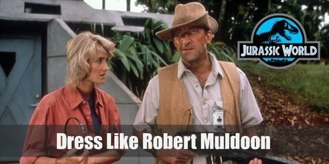 Robert Muldoon's outfit can be distinguished from a regular ranger uniform: Over his ranger uniform, Muldoon wears a tan vest jacket with a matching color to his hat.